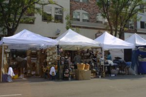 Arts and craft fair tents on Main Street