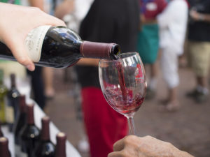 Pouring wine at the Taste