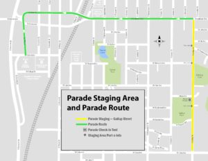 Parade staging area and route map