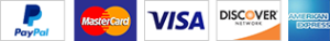Credit cards: Mastercard, Visa, Discover, American Express