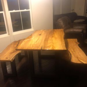 table & benches in house