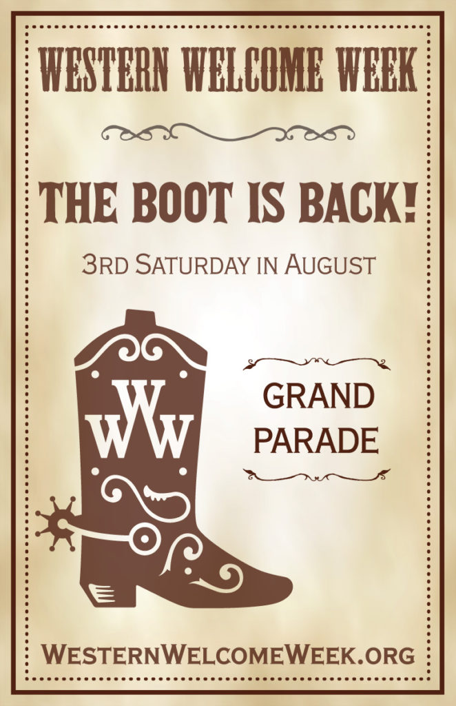 The Boot is back! Gallup Street closed on Parade Day from 7 AM to noon for parade staging.